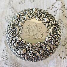 Gorham Rose Floral Repousse Sterling Silver Powder Dresser Jar Antique Victorian