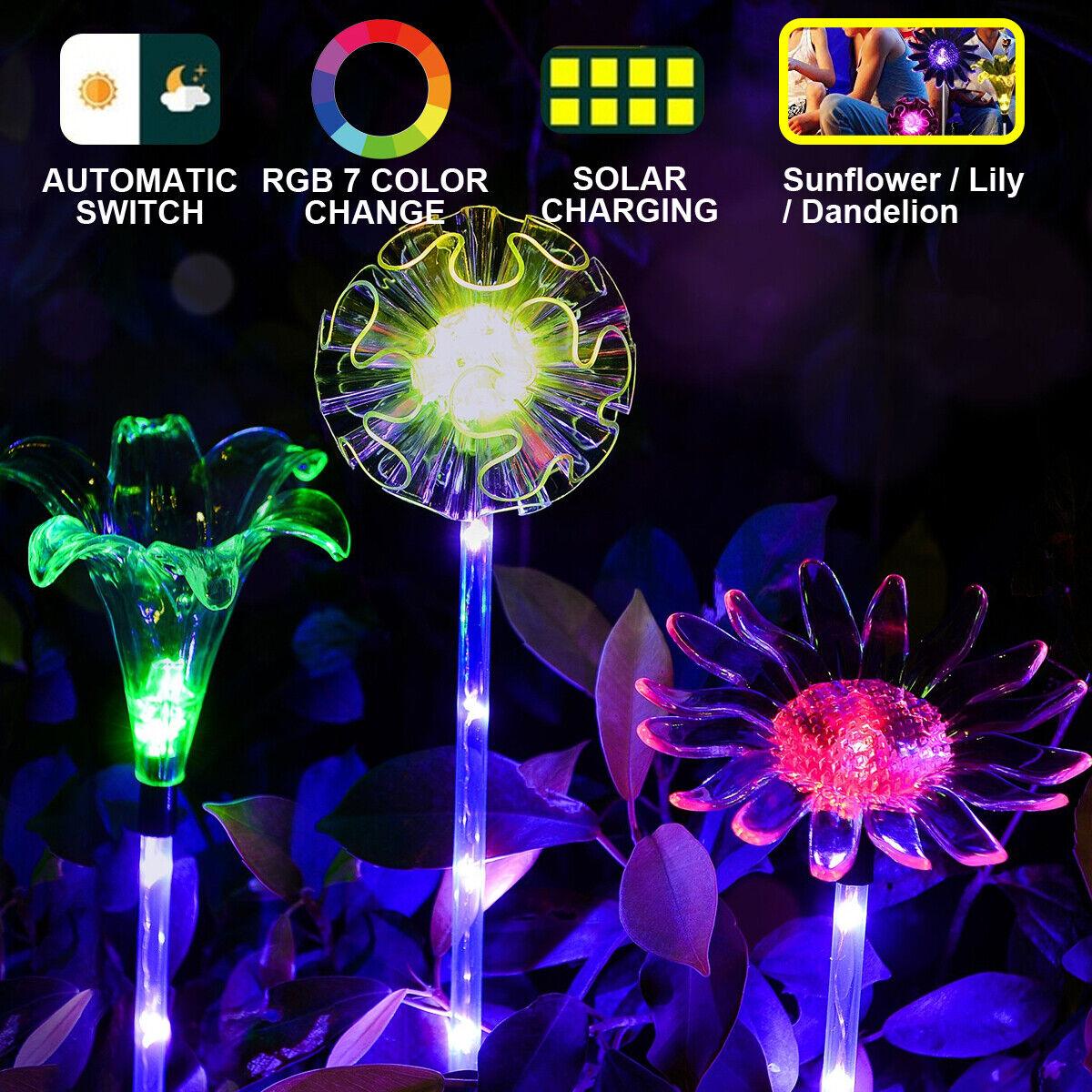 Sun//Lily Flower LED Solar Power Stake Lights Garden Backyard Path Landscape Lamp