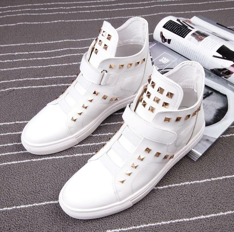 Mens Punk Rivets Studs Hip Hop Shoes Sneakers Casual High Top Street Dance New Y