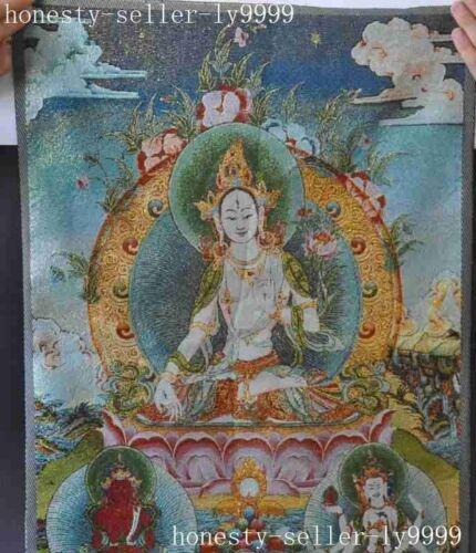 Tibet Silk Embroidery Buddhism Tangka White Tara KwanYin GuanYin buddha Thangka