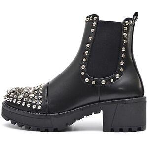 Senora-chelsea-tachuelas-botas-botines-plataforma-negro-con-suela-perfil-punk