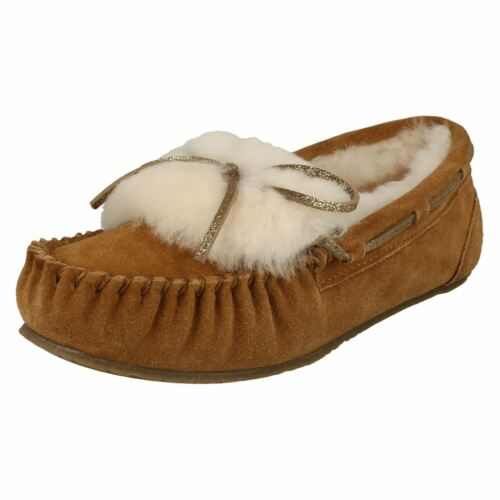 Lined Ladies Wool Leather Slippers Tan Clarks Glamour' 'warm Moccasin Suede xTrqTSYw