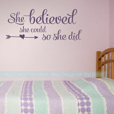 Girl Vinyl Art Stickers She Believed She Could Girls Bedroom Wall Decal  Quotes   eBay
