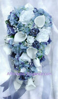 WHITE & BLUE Cascade Bridal Bouquet ~ Roses Calla Lilies Silk Wedding Flowers