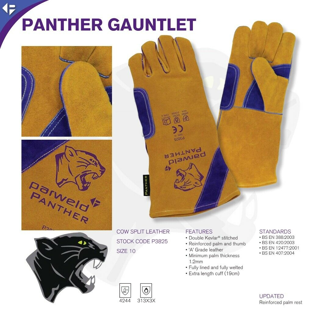 Parweld Panther Leather APRON DRIVERS GLOVES JACKET SLEEVE Welders PPE SPATS