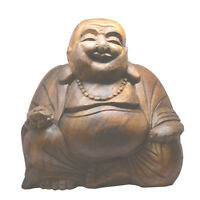 Extra Large 30cm Wooden Hand Carved Lucky Laughing Buddha Statue - Fair Trade