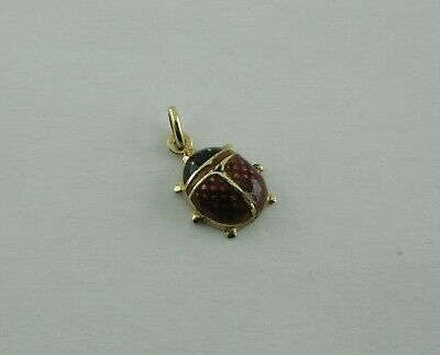 14k Real Yellow Gold 7.5x13mm Lady Bug Pendant