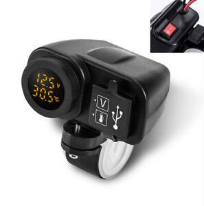 Gelb-LED-12V-Motorrad-Ladegeraet-2-1-2-1A-USB-mit-Digital-Voltmeter-Thermometer