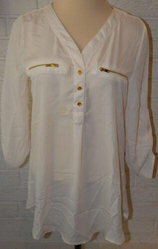 Blouse Top Sizes XS XL Women/'s Rue 21 Cream 3//4 Sleeve Zipper Accents Ltwt
