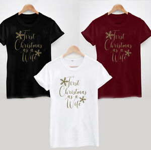 First Christmas as a Wife T-Shirt - Bride Wedding Married Xmas Gift