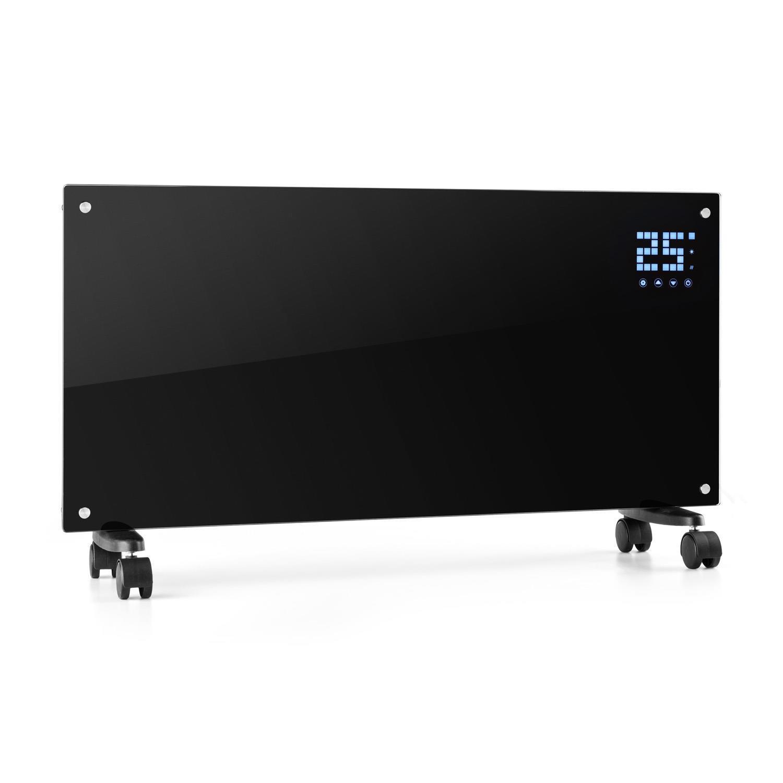 Konvektor Heizung Elektroheizung Heizgerät Mobil Heizkörper Glas 2000W Schwarz