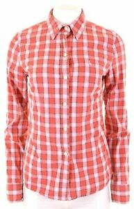JACK-WILLS-Womens-Shirt-Size-12-Medium-Red-Check-Cotton-AO12