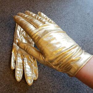 Vintage 50s Gold Lame Stretch 24 Long Full Length Opera Formal Gloves M