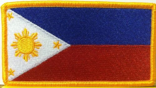 PHILIPPINES FLAG  Embroidered Iron-On Patch  Military Emblem Gold Border