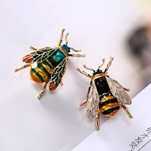 Vintage-Enamel-Bumble-Bee-Crystal-Brooch-Pin-Costume-Badge-Women-Jewelry-Gift