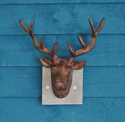 Cast Iron Wall Mounted Stag Head with Slate Mount by Fallen Fruits