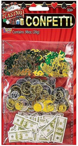 CASINO CONFETTI SET 3 packs Paper Bills Coins $ Sign Table Decoration      2-2C