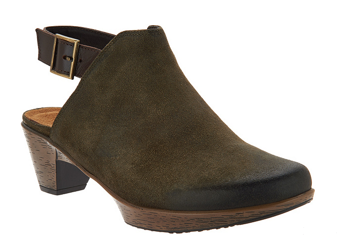 Naot Suede Block Heel Mules - Upgrade Brushed Olive femmes EU 38 US 7 NEW