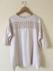 T-shirt ajouré blanc cassé femme Zara   eBay