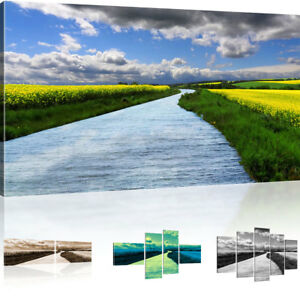 Wandbilder natur  Bilder Landschaft mit Fluss Wandbilder Natur Bild auf Leinwand   eBay