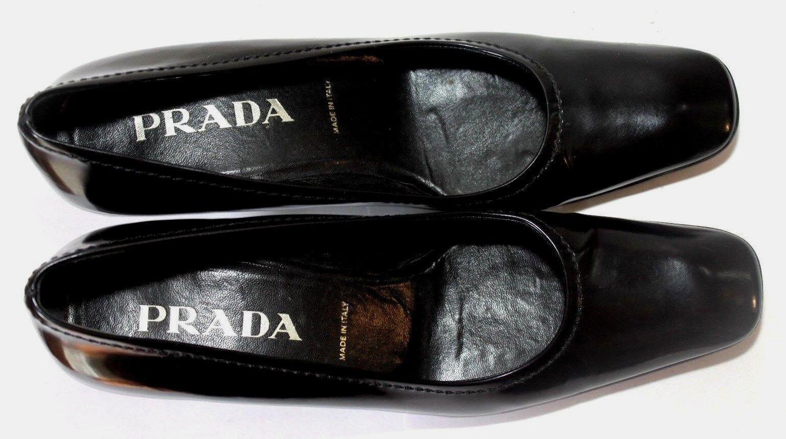 Prada Charol Negro Tacón Bomba De De De Punta Cuadrada Zapatos Talla 36  descuentos y mas