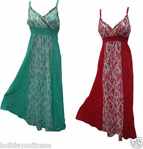 Ladies-womans-crinkle-maxi-beach-summer-sequin-strappy-dress-size-10-eu-38