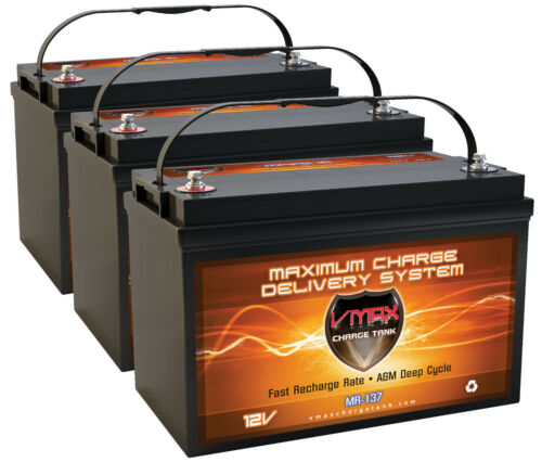 QTY3 VMAX MR137-120 AGM Deep Cycle Grp 31 Batteries for 36v 110lb Trolling Motor