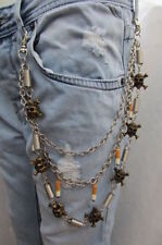 New Men Silver Metal Long Wallet Chain Keychain Antique Gold Skull Cigarettes
