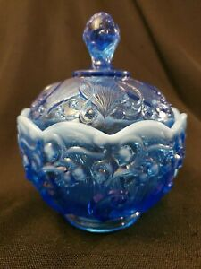Fenton-Lily-of-the-Valley-BLUE-Opalescent-Moonstone-Lidded-Candy-Dish-Jar-Bowl