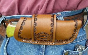 Large-Leather-Horizontal-Cross-Draw-Pocket-Knife-Sheath-Ruff-s-Border-Tool-Brown