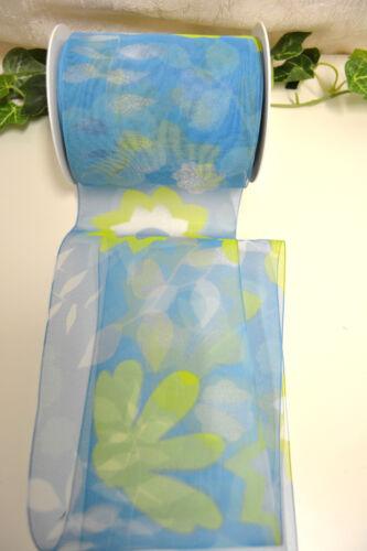 0,58 €//m 5 metros de banda de bucles organzaband con motivo hojas azul-verde bricolaje