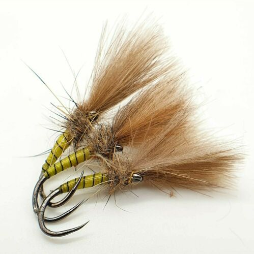 Set of 3 Fly Fishing Flies Barbless CDC Yellow owl Suspender Buzzers Size 10