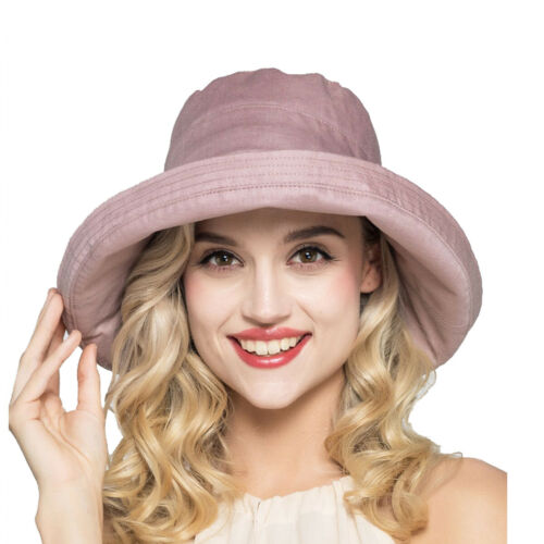 Cotton Hat-Floppy Sun Hats for Women Wide Brim UPF50  Foldable Hat Big Bowknot
