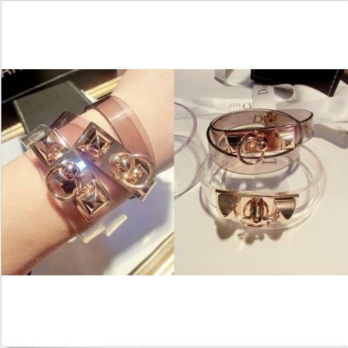 Fashion Jewelry  Metallic Transparent Plastic Bangle Bracelet 2 Color
