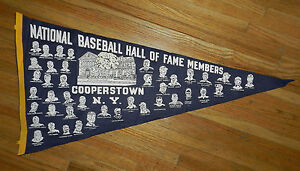 RARE 1960s COOPERSTOWN BASEBALL HALL OF FAMERS LARGE PENNANT