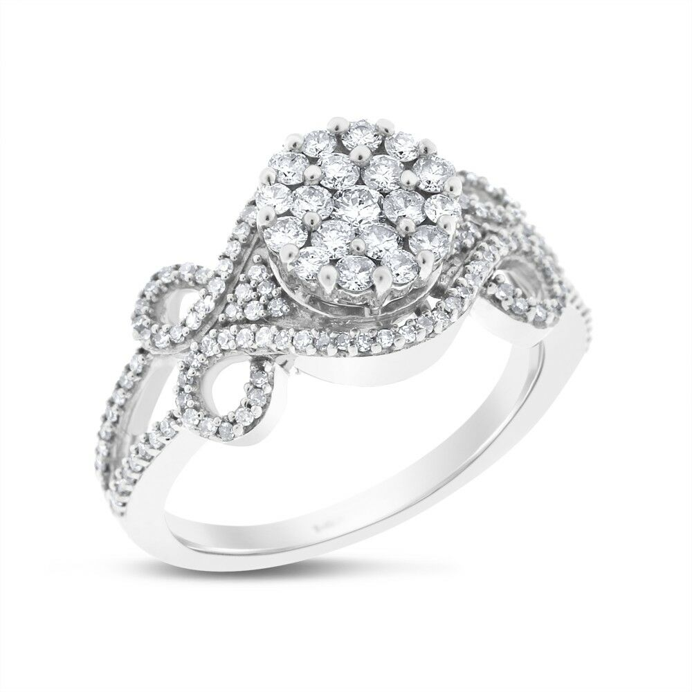 0.90 Ct. Natural Diamond Illusion Regal Fashion Ring In Solid 14k White gold