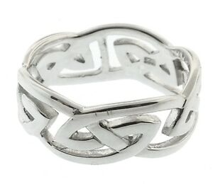 New-Mens-Celtic-Solid-Silver-Wide-Open-Knotwork-Ring-Celtic-Jewellery-Gift-Boxed