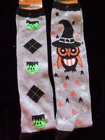 Halloween Knee High Socks Size 4 To 10 Frankenstein Owl Gray Black Cute