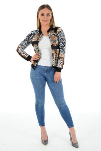 Womens Baroque Leopard Scarf Print Bomber Jacket Ladies Long Sleeve Zip Coat Top