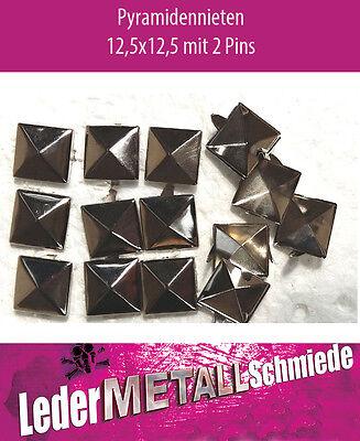 50 Stück Pyramidennieten 12,5x12,5mm Pyramiden Nieten silber Ziernieten