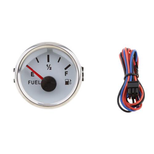 Weißes 2 Zoll Messgerät und Kraftstoffsensor E 1//2 F Zeiger Kit