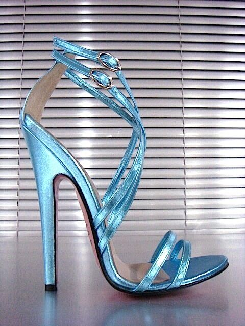 MORI MADE IN ITALY SANDALS HEELS SANDALETTE SANDALI SCHUHE LEATHER BLUE BLU 44