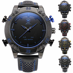 3D-Shark-Mens-Fashion-LED-Digital-Date-Day-Black-Leather-Quartz-Sport-Watch-Box