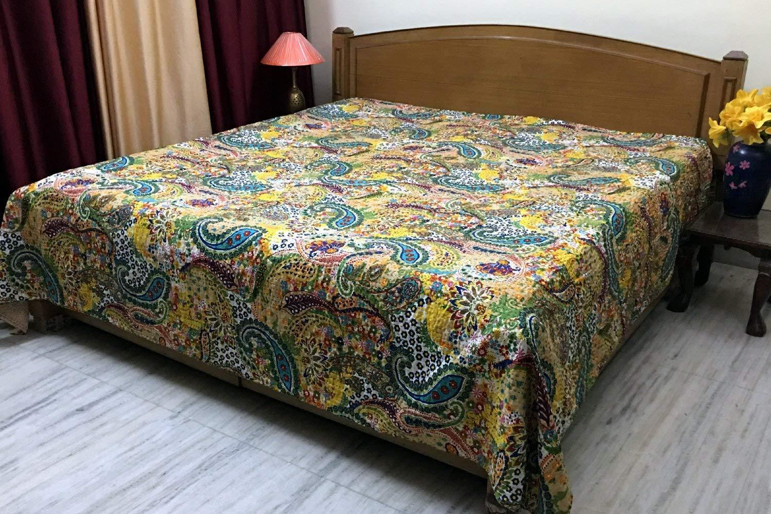 Indian Bed Cover Queen Cotton Printed Quilt Blanket Paisley Kantha Quilts