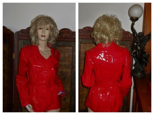 Vtg M Shiny Red PVC Vinyl Raincoat Rain Jacket Sli