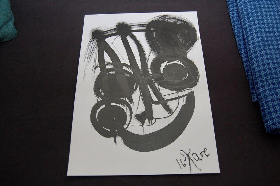 Original blæktegning , KARE, motiv: Abstrakt moderne