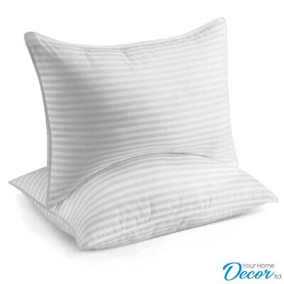 Luxury Deluxe Super Jumbo Bounce Back Stripe Pillows Hotel Quality Pillow 4 Pack