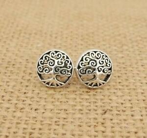 Tree-of-Life-925-Sterling-Silver-Round-Stud-Earrings