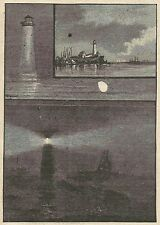 A3031 Messina - Il Faro di notte - Stampa Antica del 1888 - Incisione