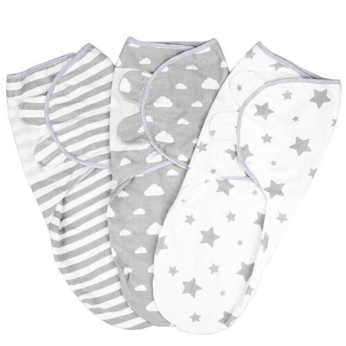 Pack of 3 Baby Infant Swaddle Wrap Blanket Sleeping Bag For 0-3 Months Cotton fz
